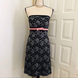 IDEOLOGY Lace & Velvet Bow Pencil Strapless Dress